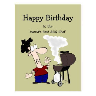 World s Best BBQ Chef Fun Quote Birthday Greeting Postcards