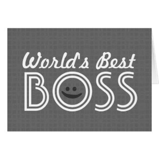 World s Best BOSS Funny Smiley Gray Pattern V1A Card