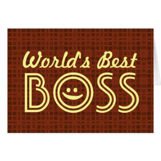 World s Best BOSS Funny Smiley Red Pattern V1B Greeting Card