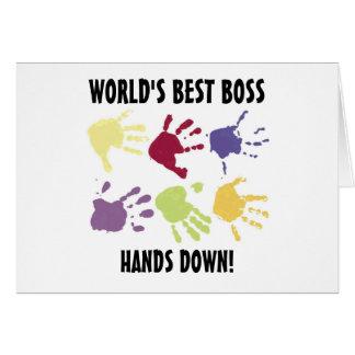 World s best Boss Hands Down Office Card