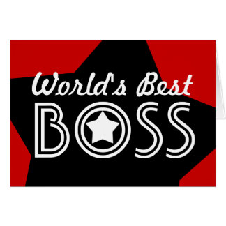 World s Best BOSS Red White Black with Stars V1C3 Cards