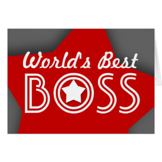 World s Best BOSS Red White Gray with Stars V1C4 Greeting Card