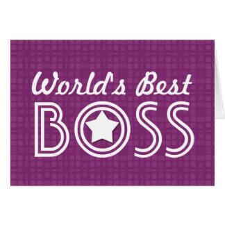 World s Best BOSS White Star Blue Pattern V1C1 Card