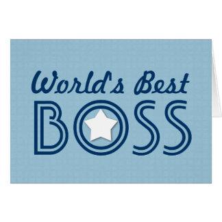 World s Best BOSS White Star Blue Pattern V1C Cards