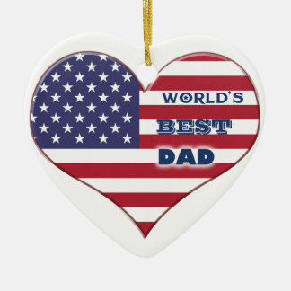 World s Best Dad American Flag Heart Ornament