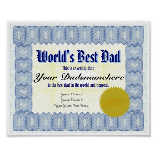 World s Best Dad Certificate Poster