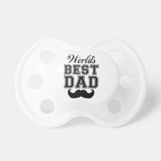 World s best dad with mustache baby pacifiers