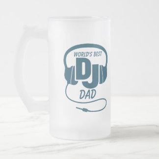 World s best DJ dad blue beer mug