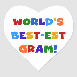 World s Best-est Gram Bright Colors Gifts Heart Stickers