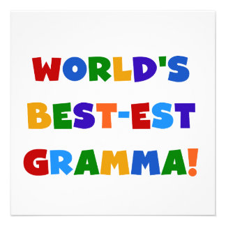 World s Best-est Gramma Bright Colors Personalized Announcements