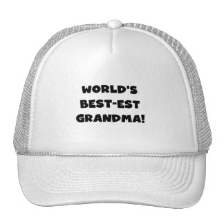 World s Best-est Grandma Black T-shirts and Gifts Hats