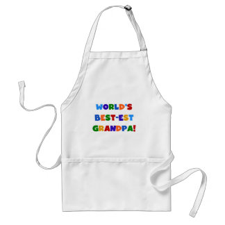 World s Best-est Grandpa Bright Colors Gifts Aprons