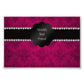 World s best friend pink damask photo art
