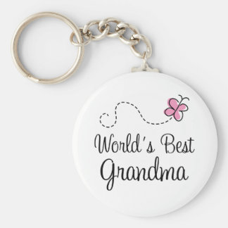 World s Best Grandma Butterfly Gift Keychain