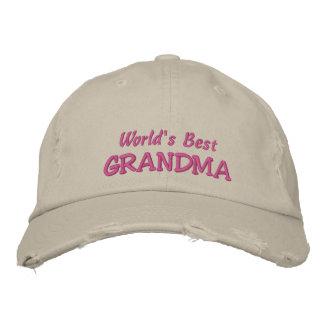World s Best GRANDMA+Names of Grandkids Embroidered Hats