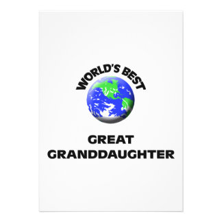 World s Best Great Granddaughter Personalized Invitations