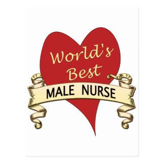 World s Best Male Nurse Postcard