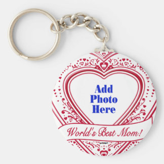 World s Best Mom Photo Red Hearts Key Chains