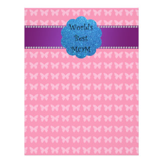 World s best mom pink butterflies full color flyer