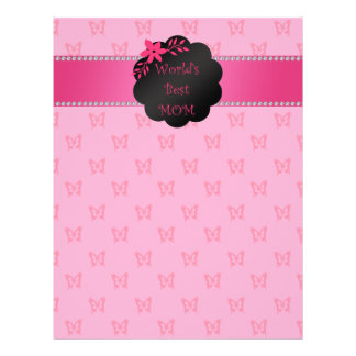 World s best mom pink butterflies personalized flyer