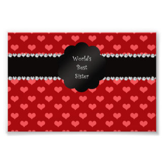 World s best sister red hearts photo print