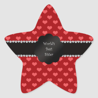 World s best sister red hearts star stickers