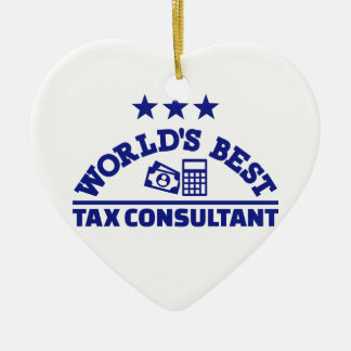 World's best tax consultant ceramic heart decoration