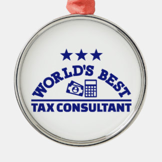 World's best tax consultant Silver-Colored round decoration