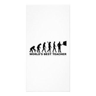 World s best Teacher Evolution Customized Photo Card