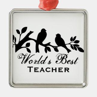 World s Best Teacher sparrows silhouette branch Christmas Ornaments
