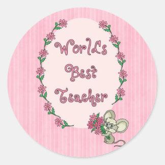 World s Best Teacher Tees and GIfts Round Sticker