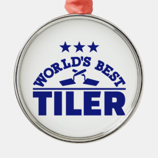 World's best tiler Silver-Colored round decoration