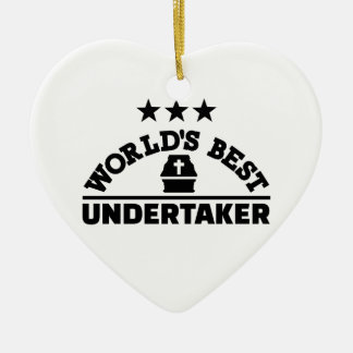 World's best undertaker ceramic heart decoration