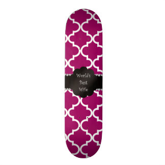 World s best wife pink moroccan quatrefoil skate board