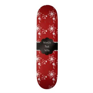World s best wife red white flowers skateboard decks