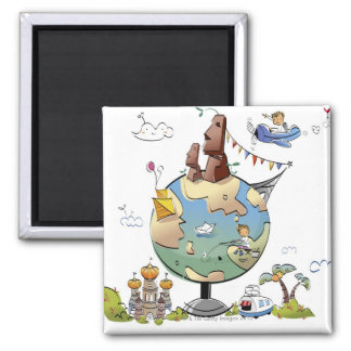 World s famous places around the globe refrigerator magnet