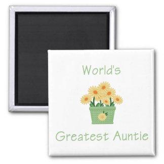 World s Greatest Auntie flower Fridge Magnets