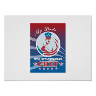 World s Greatest Dad Chef Greeting Card Poster