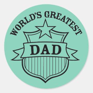 """world""""s greatest dad design round sticker"""
