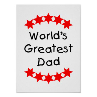 World s Greatest Dad red stars Print