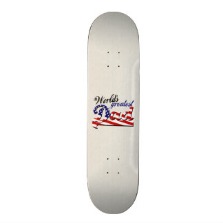 World s greatest dad with American flag Skateboard Deck