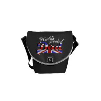 World s greatest dad with British flag - dark Messenger Bag