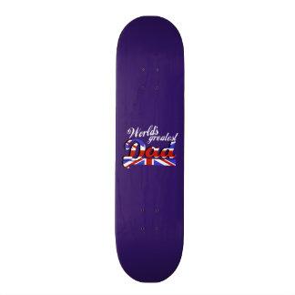 World s greatest dad with British flag - dark Skate Board Decks