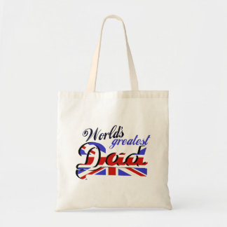 World s Greatest Dad with English flag Tote Bags