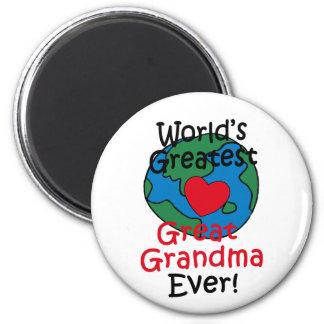 World's Greatest Great Grandma Heart 6 Cm Round Magnet