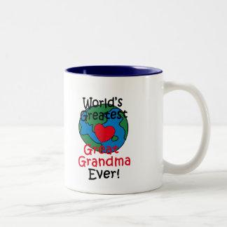 World's Greatest Great Grandma Heart Two-Tone Coffee Mug