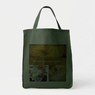 World s Greatest Mom yellow flower bag