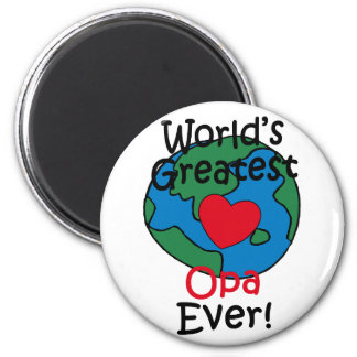World's Greatest Opa Heart 6 Cm Round Magnet