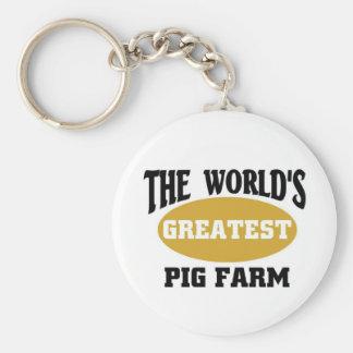 World s greatest pig farm keychain