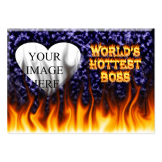 World s hottest Boss fire and flames blue marble Business Card Templates